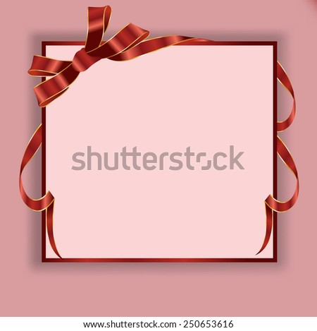 Gift card notes with red bows with ribbons. Vector illustration. - stock vector