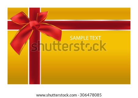 Gift card template gift red bow stock vector 306478085 shutterstock gift card template with gift red bow ribbons on gold background background design pronofoot35fo Choice Image