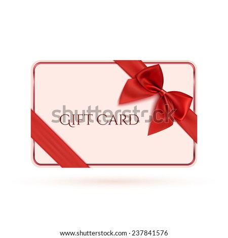 Gift card template with red ribbon and a bow. Vector illustration - stock vector