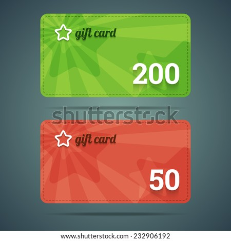 Gift card template with star and number. Vector illustration in EPS10. - stock vector