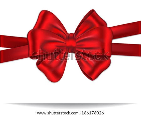Gift card tied with red ribbon and and luxurious bow. Vector