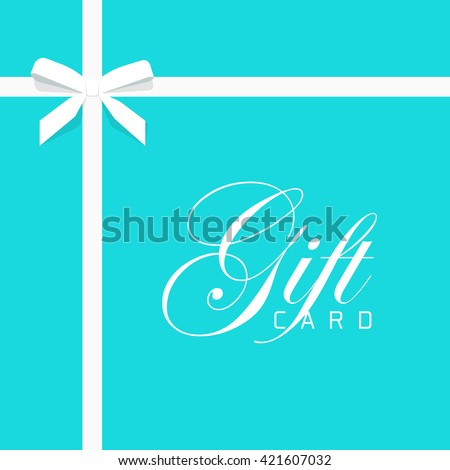 Gift card vector illustration on blue background, luxury thin gift bow with white ribbon and space frame for text, gift wrapping template for banner, poster design  - stock vector