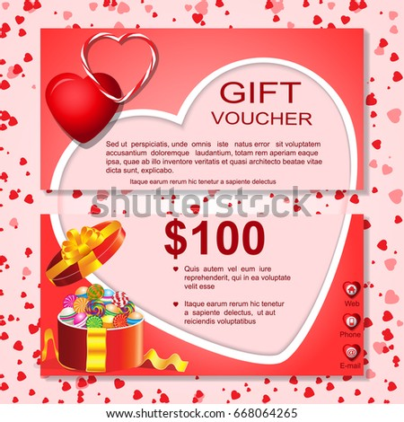 Gift Cardvoucher Template Heart Patternborderbowribbonsdesign Gift