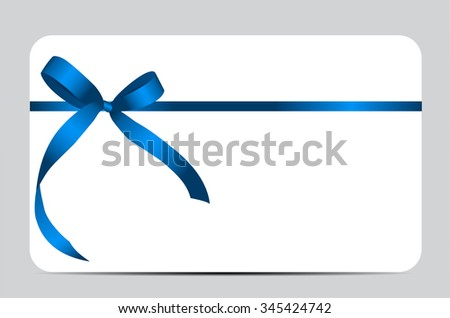 Gift Card with Blue Ribbon and Bow. Vector illustration EPS10