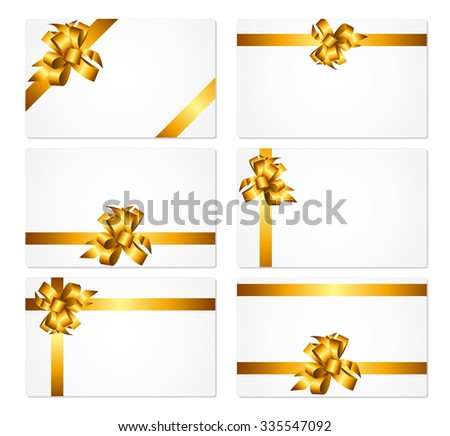 Gift Card with Gold Bow and Ribbon Set Vector Illustration EPS10 - stock vector