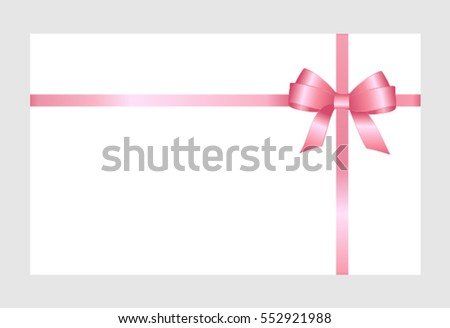 Gift card pink ribbon bow on stock vector 552921988 shutterstock gift card with pink ribbon and a bow on white background gift voucher template pronofoot35fo Gallery