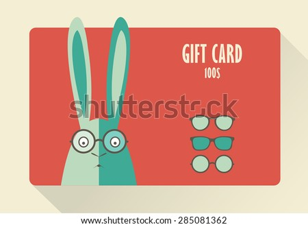 Gift Card with rabbit.  - stock vector