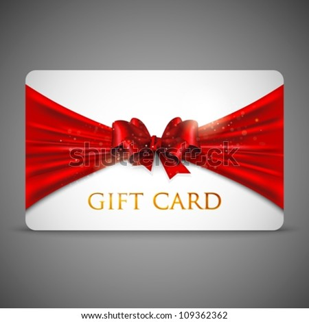 gift card with red bow - stock vector