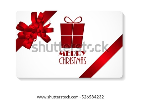 Gift Card with Red Bow and Ribbon Merry Christmas. Vector Illustration EPS10