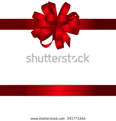 Gift Card with Red Bow and Ribbon Vector Illustration EPS10 - stock vector