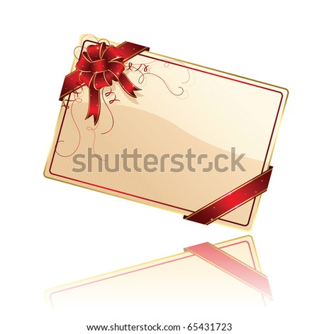 Gift card with red ribbon and bow, illustration - stock vector