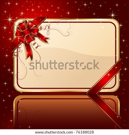 Gift card with red ribbon and bow, illustration