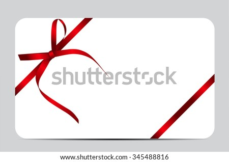 Gift Card with Red Ribbon and Bow. Vector illustration EPS10