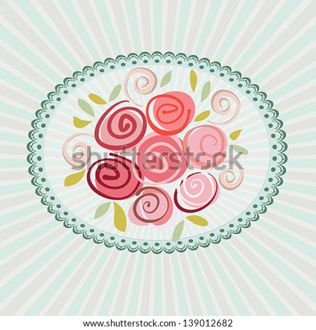 Gift card with roses flowers. Vector eps10 floral illustration for wedding invitation, birthday, valentine day or other life events. Raster file copy included in portfolio - stock vector