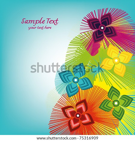 Gift card with spring colorful flowers-background - stock vector
