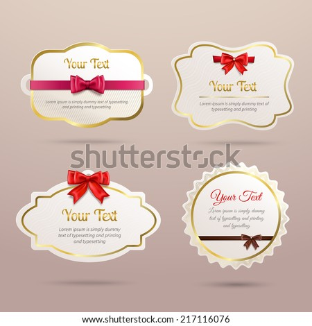 Gift cardboard paper holiday labels collection with red bows and ribbons vector illustration - stock vector