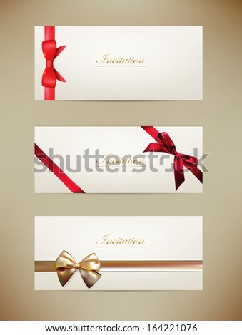 Gift cards and invitations with ribbons. Vector background - stock vector