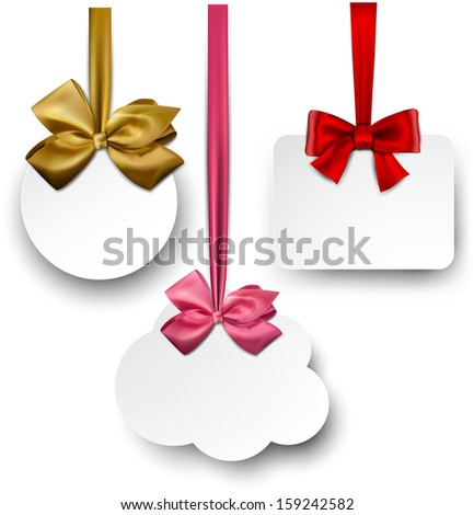 Gift cards with ribbons and satin bows. Vector illustration.  - stock vector