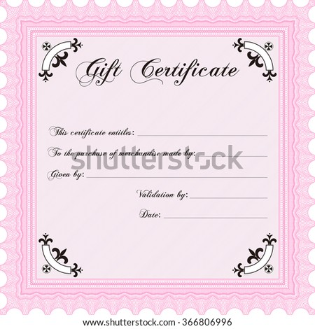 gift certificate template with logo - vector illustration gift certificate template icon stock