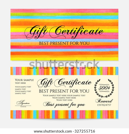 Gift certificate, Voucher, Coupon, Gift money bonus, Gift card template with colorful stripy (stripes, line pattern) background. Vector watercolor with rainbow texture for reward design, ticket, check - stock vector