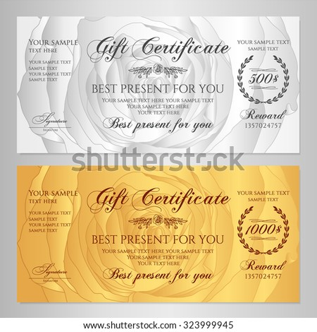 Gift Certificate Voucher Coupon Reward Floral Stock Vector 323999945