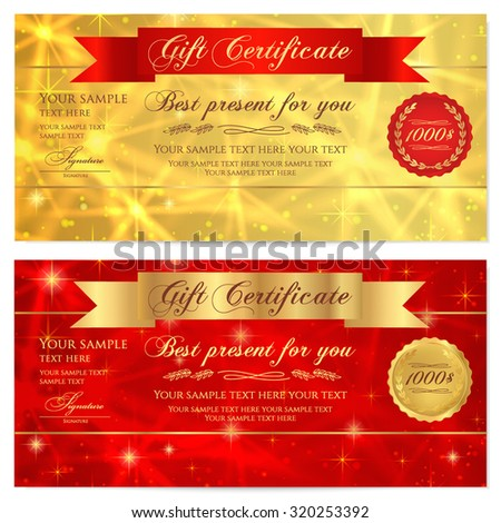 Gift certificate, Voucher, Coupon, Reward or Gift card template with sparkling, twinkling stars texture, ribbon (banner). Red, gold background design for gift banknote, check, gift money bonus, flyer - stock vector