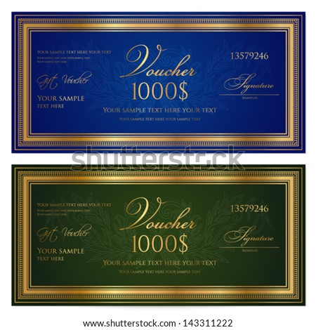 Voucher Gift Certificate Coupon Ticket Template Vector – Ticket Voucher Template