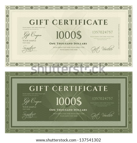 Gift certificate / Voucher template with guilloche pattern (watermarks) and border. Background usable for coupon, banknote, money design, currency, note, check etc. Vector in green and vintage colors - stock vector