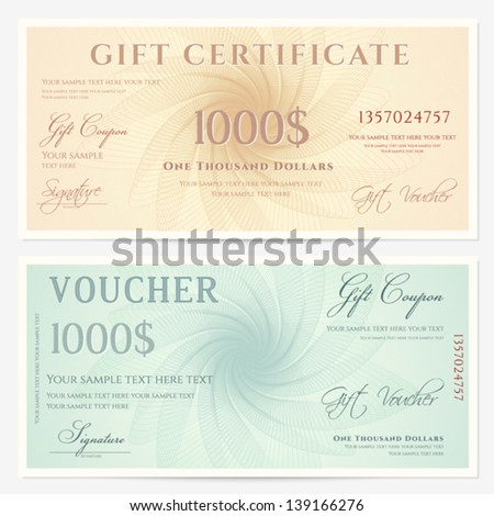 Gift Certificate / Voucher Template With Guilloche Pattern (watermarks) And  Border. Background For  Money Voucher Template