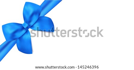 Gift certificate / Voucher template with isolated blue bow (ribbons). Blank design for coupon, invitation, Christmas card for any celebrations, holidays (birthday, father's day). Vector - stock vector