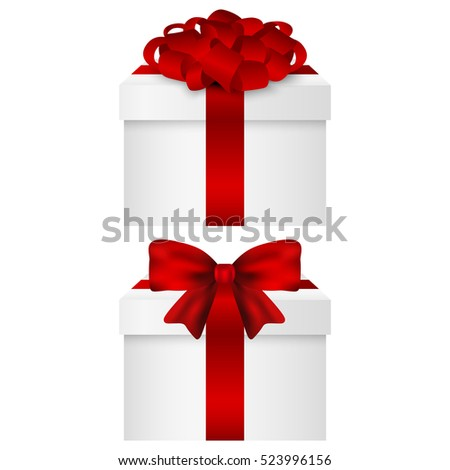 Gift Collection in a box with a red bow vector
