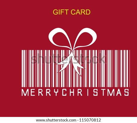 gift concept with codebar over red background. vector - stock vector
