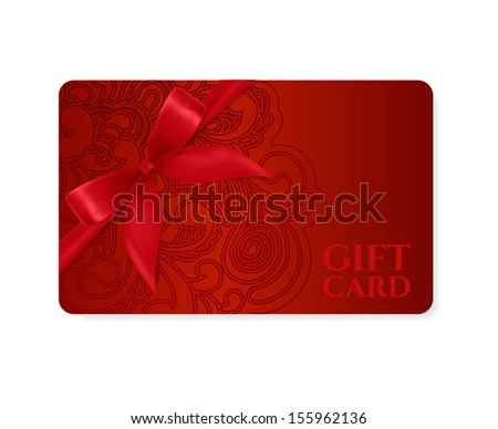 Gift coupon, gift card (discount card, business card) with floral (scroll, swirl) dark red swirl pattern (tracery). Holiday background design for Valentine's Day, voucher, invitation, ticket. Vector - stock vector