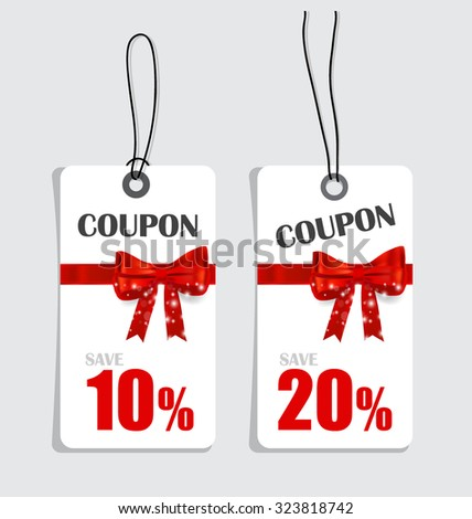 Gift coupons with gift bows and ribbons. Vector illustration. - stock vector