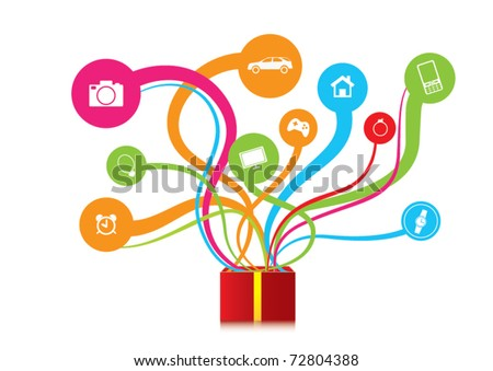 gift ejected from the box, many gifts - stock vector