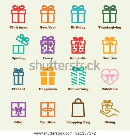 gift elements, vector infographic icons - stock vector