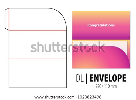 Gift greeting card envelope die cut stock vector 1023823498 gift greeting card envelope die cut stamp empty dl size shablon blank template bookmarktalkfo