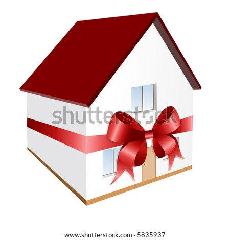 Gift - house with red bow - vector  illustration - stock vector