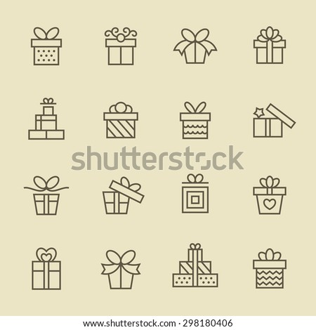 Gift icon set - stock vector