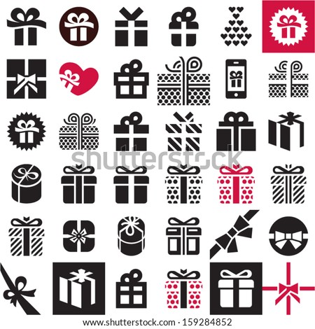 Gift icon set. Gift box. - stock vector
