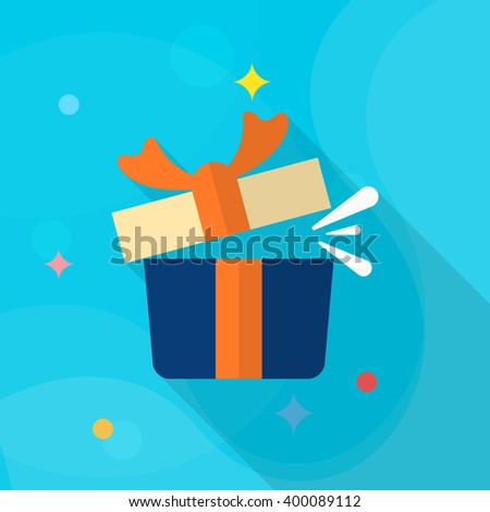 Gift icon , Vector flat long shadow design.