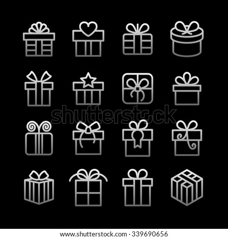 Gift icons / Present icons / Birthday gift / Holiday gift icons / celebration icons / Christmas gift icons / Decoration icons / Gift box icons / Gift pictogram / Party gift / Celebrate gift - stock vector