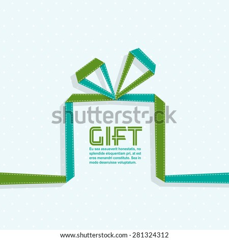 Gift in the style of origami ribbon, vector illustration - stock vector