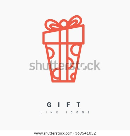 Gift isolated minimal icon. Box graph line vector icon for websites and mobile minimalistic flat design. - stock vector