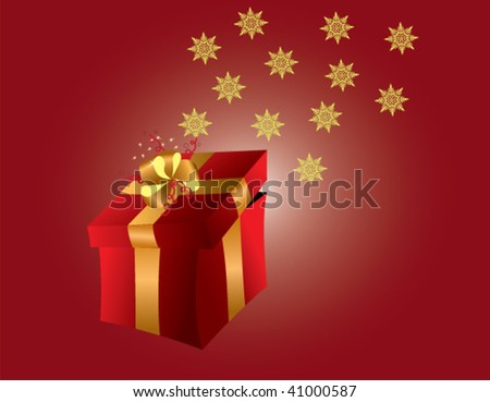 gift on a red background