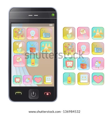 Gift phone with several icons. Isolated vector background design.