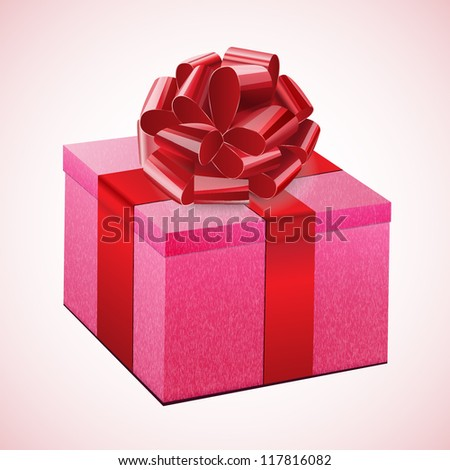Gift pink box with a red bow