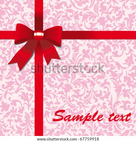 gift red bow. vector - stock vector