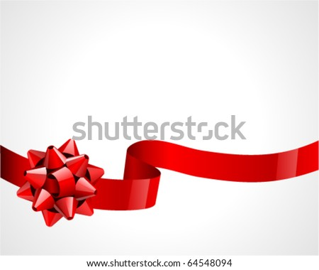 Gift red bow vector background - stock vector