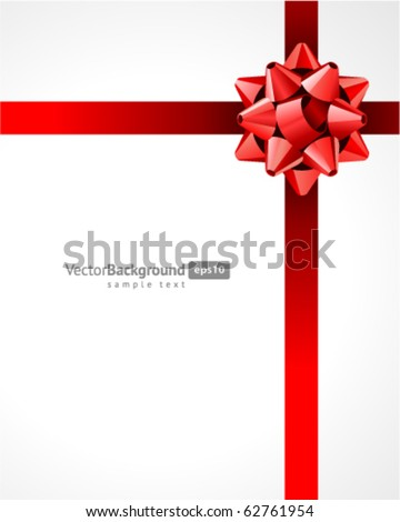 Gift red bow vector background. Eps 10 - stock vector